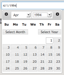 Datepicker with Month and Year