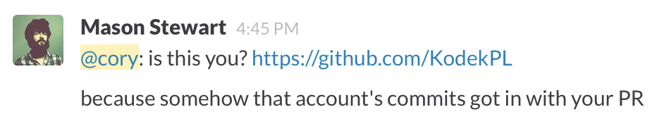 Slack message asking if a commit was mine