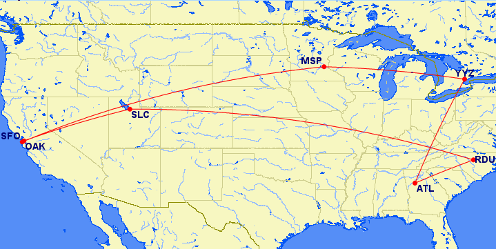 Map of the US showing connections from Raleigh to Atlanta to Toronto to San Francisco to Salt Lake City to Raleigh